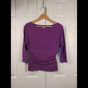Long sleeve top with ruseing